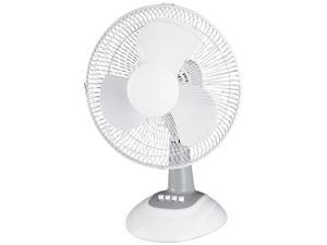 "Lorell LLR44551 Desk Fan, 12"" Diameter, Oscillating, 3-Speed, Quiet, Metal Grille, Light Gray"