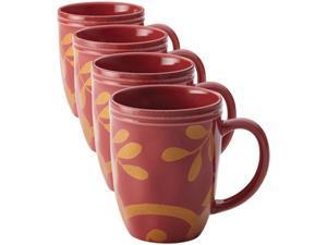 Rachael Ray Set of 4 Cucina Gold Scroll Mug Set, Cranberry