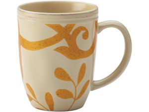 Rachael Ray Set of 4 Cucina Gold Scroll Mug Set, Almond