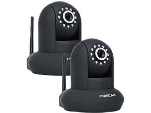 Foscam FI8910W Wireless/Wired Pan & Tilt 480 TVL Dome-Shaped IP Surveillance Camera w/ IR-Cut Filter 2-Pack (Black)
