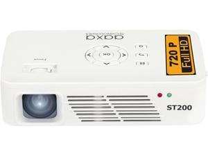 AAXA ST200 White Short Throw LED Pico Projector,  1280 x 720, 2000:1, 150 ANSI Lumens, HDMI&Mini-VGA&USB, Built-in Speaker