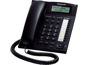 Panasonic KX-TS880B Integrated Corded Telephone System with 10 One-Touch Dialer Stations, 50-Station Phonebook, 20 Redial Memory, Black