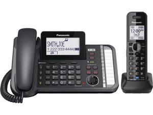 Panasonic KX-TG9581 2 Line Expandable Link2Cell Telephone System with Corded and Cordless Handset, Black