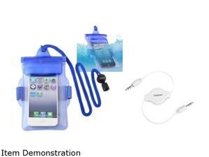 Blue Waterproof Bag Case Skin+Audio Cable For iPhone® 4 4S