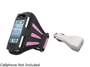 Black/Pink Armband Sportband Case Cover Skin+Car Charger For iPhone® 4 4th 4S