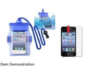 Blue Waterproof Bag Case Skin+Anti Glare Screen Protector Compatible With iPhone® 4 4S