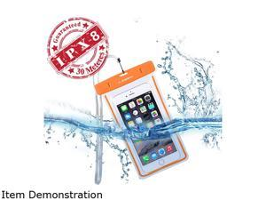Avantree Jellyfish, Universal Fluorescence Clear Waterproof Case / Bag For iPhone 6, 6 plus, 5, 5s, Samsung Galaxy S6, Samsung Note 4 - IPX8 Certified to 100 Feet, Durable, Eco-Friendly - Orange