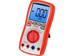 Digital LCD AC, DC, Volt, Current, Resistance, and Range Multimeter W/ Rubber Case, Test Leads And Stand
