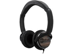 NoiseHush Nx26 3.5mm Stereo Headphones w/In-Line Mic - Black/Wood