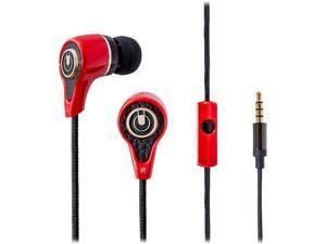 SYBA Oblanc Mobile In-ear Headphone with In Line Microphone for Smartphones, Tablets, Laptops or PC, FLYING-NH1 Red