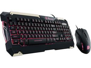 Tt eSPORTS Commander Gaming Gear Combo (Red Light) - USB Cable Keyboard - Black - USB Cable Mouse - Optical - 2400 dpi - 6 Button - Scroll Wheel - QWERTY - Black - Symmetrical - Compatible w/ Computer