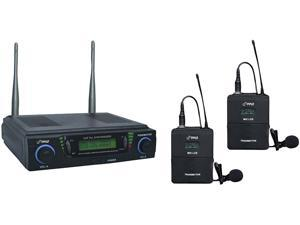 PylePro - Professional UHF Dual Channel Wireless Microphone System with 2 Adjustable Frequency Body Pack Transmitters & 2 Headset/Lavalier Mics