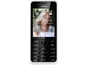 Nokia 301 White 3.15 MP Camera Stereo FM Radio Bluetooth Unlocked GSM Cell Phone - OEM