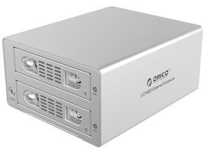 ORICO Aluminum 2 bay 3.5 inch USB3.0 and eSATA External Hard Drive Enclosure with RAID Function Support RAID 0/ 1 Combine/ Clear Mode for PC Laptop Mac OS [Support 8TB Drive Max ] - Silver (3529RUS3)