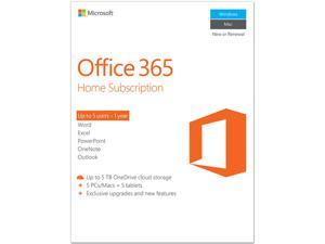 Microsoft Office 365 Home 1 Year Product Key Card - 5 PC or 5 Mac