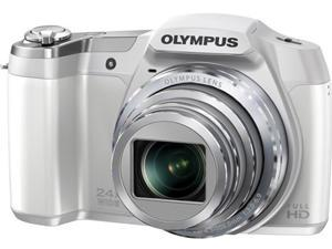 OLYMPUS SZ-16 iHS V102100WU000 White 16 MP 24X Optical Zoom 25mm Wide Angle Digital Camera HDTV Output