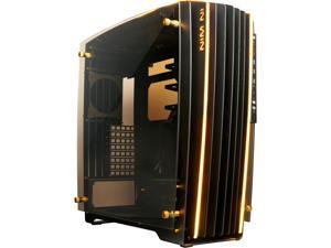 IN WIN H-FRAME 2.0 Black/Amber LED Light Aluminum / Tempered Glass ATX Full Tower Case (Include In Win 1065W 80+ GOLD PSU)
