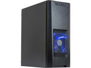 XION Gaming Series XON-350_BK Black with Blue LED Light Steel /Plastic, Meshed Front Panel design ATX Mid Tower Computer Case