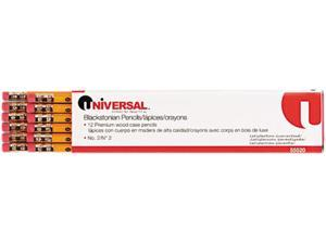 Universal Blackstonian Pencil, HB #2, Medium Point Soft, Yellow Barrel, Dozen, DZ - UNV55520