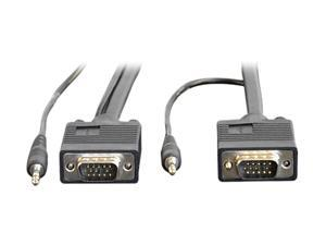 TRIPP LITE 10 ft. SVGA/VGA Monitor Cable HD15M to HD15M w/Built-in 3.5mm Audio Connectors P504-010