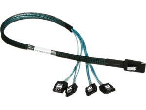 iStarUSA K-SF87XSAL-R-50 1.64 ft. miniSAS SFF-8087 to 4x SATA with Latch Reverse Breakout 50 cm Cable