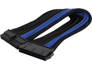 Silverstone PP07-MBBA Motherboard 24pin connector Sleeved Extension Power Supply Cable Black & Blue