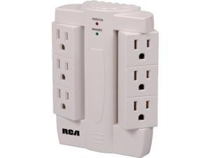 RCA PSWTS6R 6 Outlets 2100 J Wall Tap Surge Protector with 6 Swivel Outlets