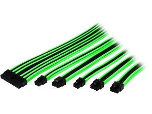 Thermaltake AC-034-CN1NAN-A1 0.98 ft. (All Cables) TtMod Sleeve Extension Power Supply Cable Kit ATX/EPS/8-pin PCI-E/6-pin PCI-E with Combs Green/Black