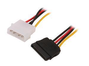"""SYBA SY-PWCB-SATA 8"""" 8"""" Molex 4-pin Male to 15-pin SATA Power Cable"""