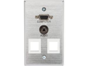 C2G 40544 Single Gang HD15/3.5mm/(2) Keystone Wall Plate - Brushed Aluminum