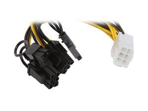 """Athena Power CABLE-YPCIE628 6"""" PCIE 6 pin """"Y"""" Split to Two PCIE 2.0 8(6+2) pin Cable"""
