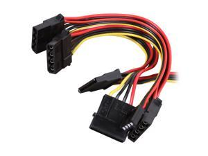 "Athena Power CABLE-MS3MF 45.75"" Molex 4Pin to 1SATA + 3 Molex + 1 FDD Cable"