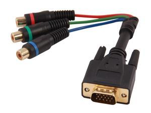 StarTech HD15CPNTMF 6in HD15 to Component RCA Breakout Cable Adapter - M/F