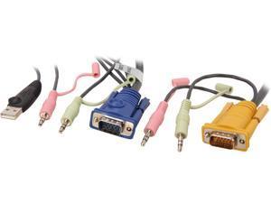 IOGEAR 15 feet Micro-Lite Bonded All-in-One USB KVM Cable G2L5305U
