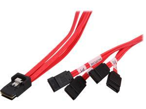 "Tripp Lite Model S508-18N 18"" Internal SAS Cable, 4-Lane mini-SAS (SFF-8087) to 4xSATA 7pin (SFF-8482)"