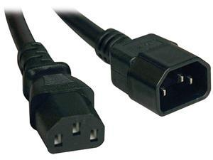 Tripp Lite Model P004-015 15 ft. Black 18AWG SJT, 10A, 100-250V IEC-320-C14 to IEC-320-C13 Power Cord M-F