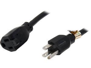 Tripp Lite Model P024-010 10 ft. Black 14AWG x 3C, SJT, 15A, 120V NEMA 5-15R to NEMA 5-15P Power Extension Cord F-M