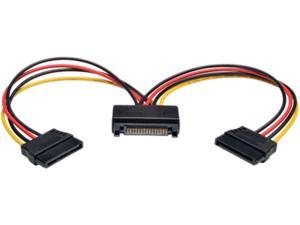 "Tripp Lite Model P947-06N-2P15 6"" 15-Pin Serial ATA (SATA) Power Y Splitter Cable Adapter M-F"