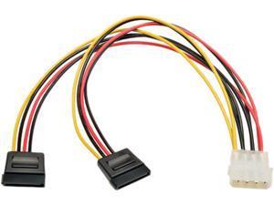 "Tripp Lite Model P946-12N-2P15 12"" Serial ATA (SATA) Dual Power Adapter Y Cable (LP4 4pin to 2x 15pin SATA) F-M"