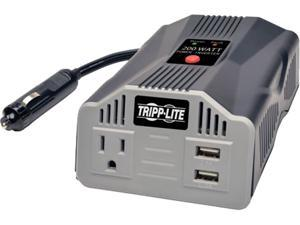 Tripp Lite 200W Car Power Inverter with Outlet & 2 USB Charging Ports, Ultra-Compact (PV200USB)