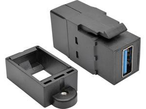Tripp Lite USB 3.0 Keystone Panel Mount Coupler (F/F) All in One Black (U325-000-KP-BK)