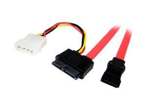 """CABLES UNLIMITED FLT-6020-18 18"""" Slim-line SATA Drive Cable to SATA and 4 pin Molex Power"""