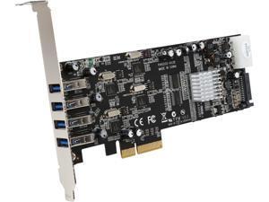 StarTech PEXUSB3S44V 4 Port Quad Bus PCI Express (PCIe) SuperSpeed USB 3.0 Card Adapter with UASP - SATA/LP4 Power