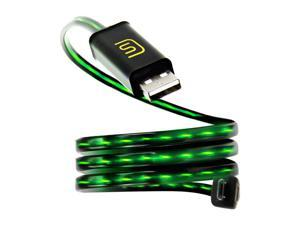 DATASTREAM Micro USB Cable with Green LED Flowing Current for Power Charging , Data Sync and Data Transfer - Works with Samsung Galaxy S7 , HTC One A9 , Microsoft Lumia 550 and More