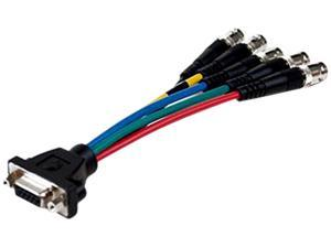 "Comprehensive VGA15JLP-5BJ-6INHR 6"" HR Pro Series low-profile VGA HD 15 jack to 5 BNC jacks cable 6 inches"