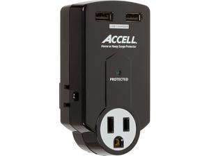 ACCELL D080B-011K Wall Mount 3 Outlets 612 Joules Travel Surge Protector with Dual USB Charging