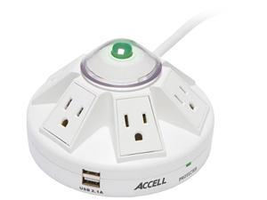ACCELL D080B-014K 6 ft. 6 Outlets 1080 joules Power Center and USB Charging Station