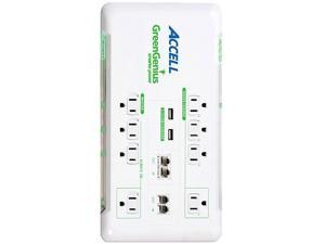ACCELL D080B-017K 6 ft. 8 Outlets 2160 Joules Smart Surge Protector