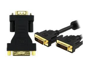 Insten Model 675416 Black 6 ft. Dvi-D Digital / Digital Dual Link Cable 9.9Gbps 24+1 Pin M/M + Dvi-F To Vga-M Adapter