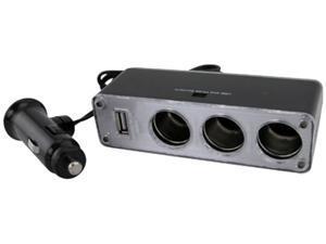Insten 1044434 Three-Way Car Cigarette Lighter Socket Splitter w/ USB Port